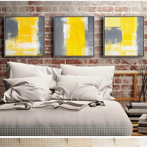€ 5.88 |Jaune et gris moderne minimaliste abstrait décoratif peinture  peintures salon canapé toile de fond mur salle de modèle dans Peinture et  ...