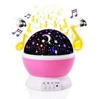 New Projection Lamp Music Night Light Projector Spin Star Moon Sky Children Kids Baby Sleep Romantic