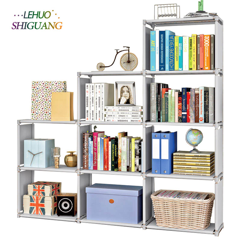 Multi-layer Storage Shelf Steel Pipe Nonwovens Bookshelf Simple Assembly Can Be Removed Living Room Rack Home Decoration