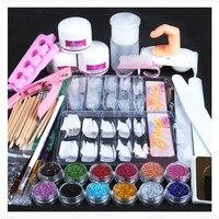 Manicure Suit HAICAR 24pcs Acrylic Powder Glitter Nail Brush False Finger Pump Nail Art Tools Kit Set Stainless tweezer Pretty