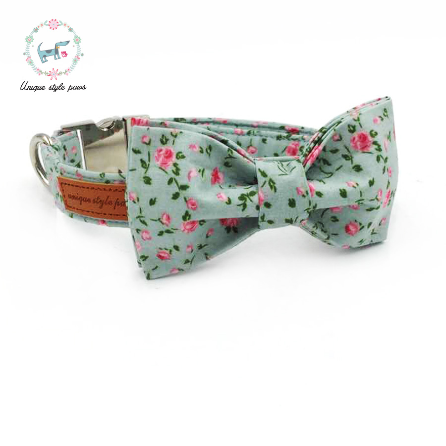 Rose on Blue Collar Lead Bandana Bow tie Flower for Dog Cat sizes XXS L