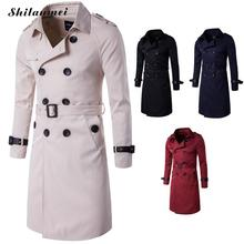 Autumn Winter British Slim Double Breasted Men Long Trench Coat Europe Trenchcoat Jacket Male Coat Trench