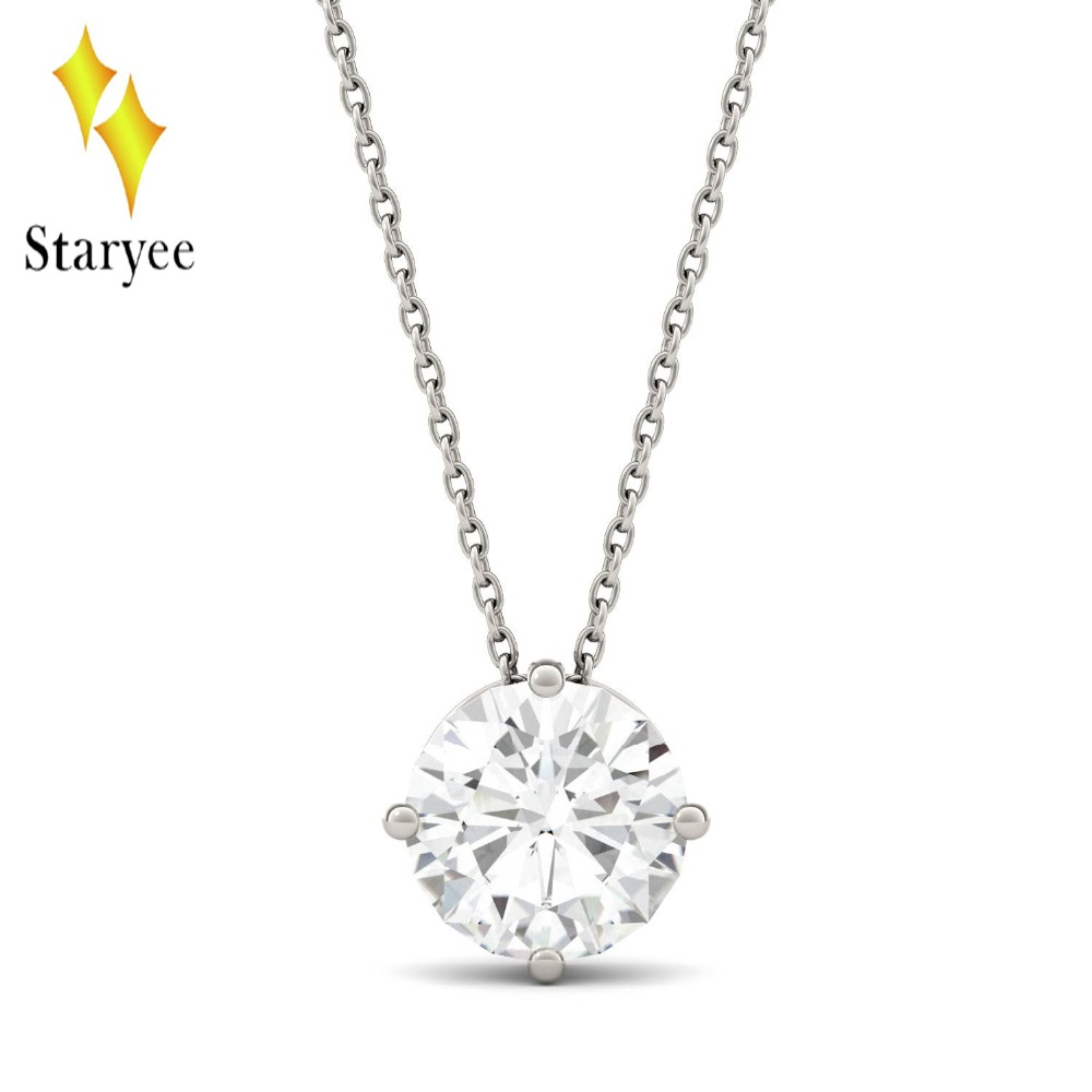 18K Solid White Gold 1ct 6.5mm GH Round Engagement Band Moissanite Solitaire Pendant Diamond Necklaces Chain For Women Jewelry