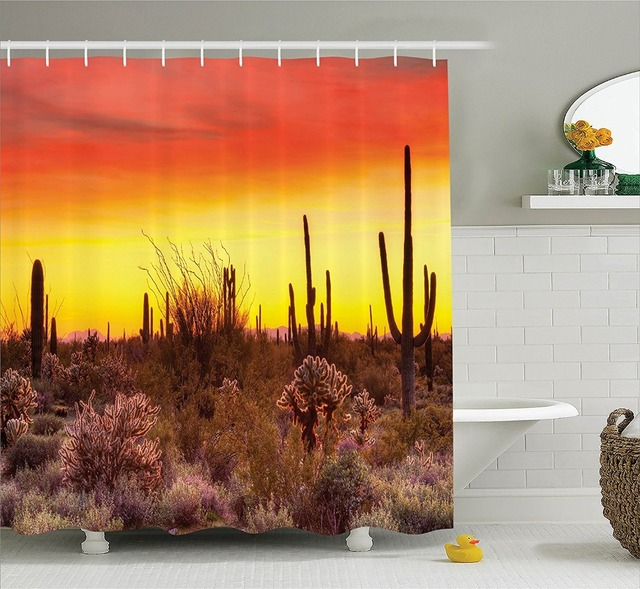 Cactus At Desert Sunset Shower Curtain Printing Waterproof Mildewproof Polyester Fabric Bath