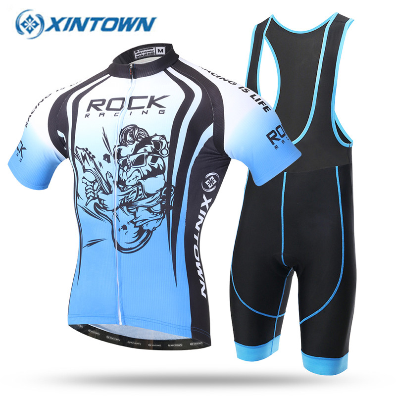 все цены на XINTOWN 2018 Cycling Jersey Set Quick Dry GEL Pad Pro Team Sky Blue Sunmmer Bicycle Short Sleeve Bike Clothing Men S-3XL онлайн