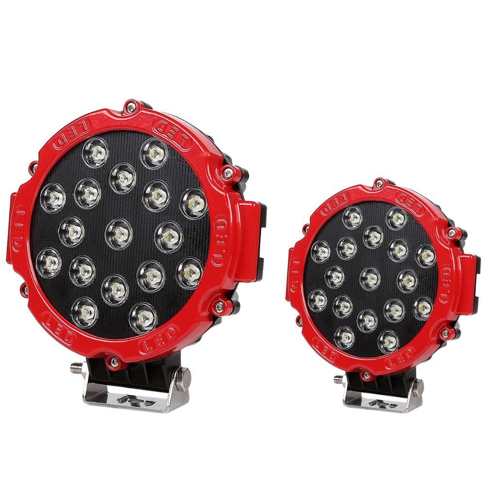 2Pcs 51W 17 Pcs Round LED Spot Headlight For Car Boat Offroader Truck ATV SUV Jeep Construction Camping Mounting Bracket  IP67 usb3 0 round type panel mounting usb connecter silver surface