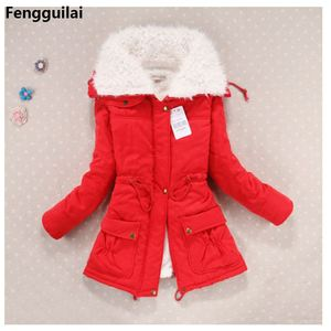 Image 3 - New  Winter Coat Women Slim Plus Size Outwear Medium  Long Wadded Jacket Thick Hooded Cotton Wadded Warm Cotton Parkas