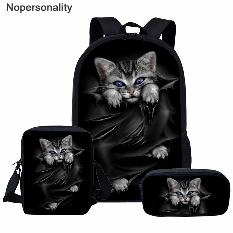 Nopersonality Black Cat Print School Backpack Sets For Teen Boys Girls Backpack Primary Student Bookbags Women Casual Rucksack