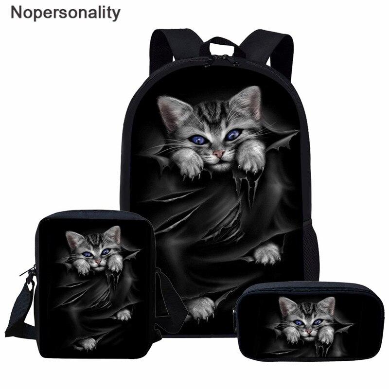 Nopersonality Black Cat Print School Backpack Sets For Teen Boys Girls Backpack Primary Student Bookbags Women Casual Rucksack