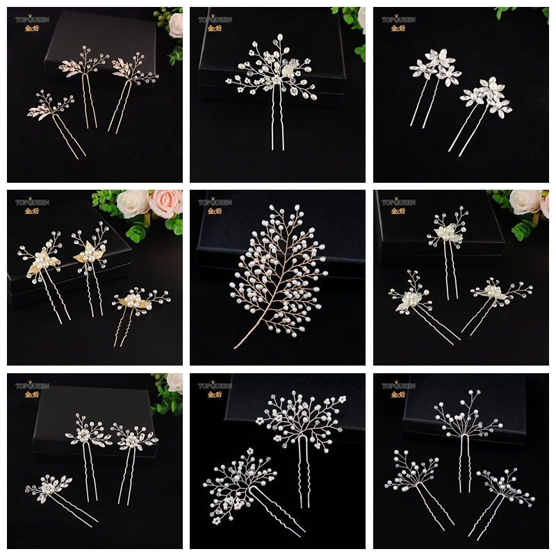 TOPQUEEN Many Styles Handmade Wedding Hairpin For Bride  Pearl Crystal Hairpin Party Gift Jewelry Pearl Headpiece Hair Pin