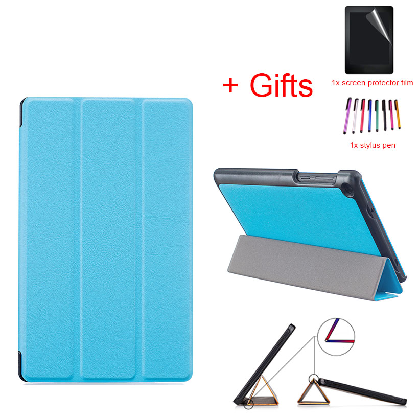 Casual Solid PU Leather Stand Case Protective Funda Cover For Lenovo Tab3 7 730 730F 730M 730X TB3-730F/M 7 Tablet+film+stylus srjtek 7 for lenovo tab3 3 7 730 tb3 730 tb3 730x tb3 730f tb3 730m touch screen digitizer sensor lcd screen display assembly