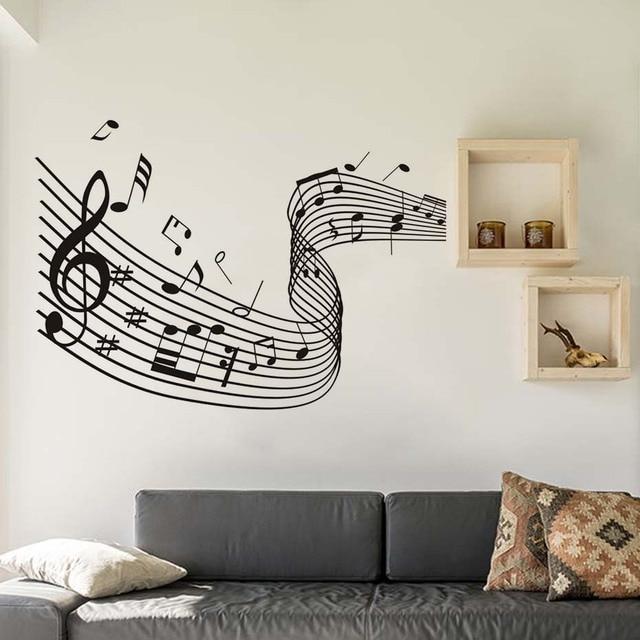 croche musical vague home decor notes de musique stickers muraux musique art salon amovible. Black Bedroom Furniture Sets. Home Design Ideas