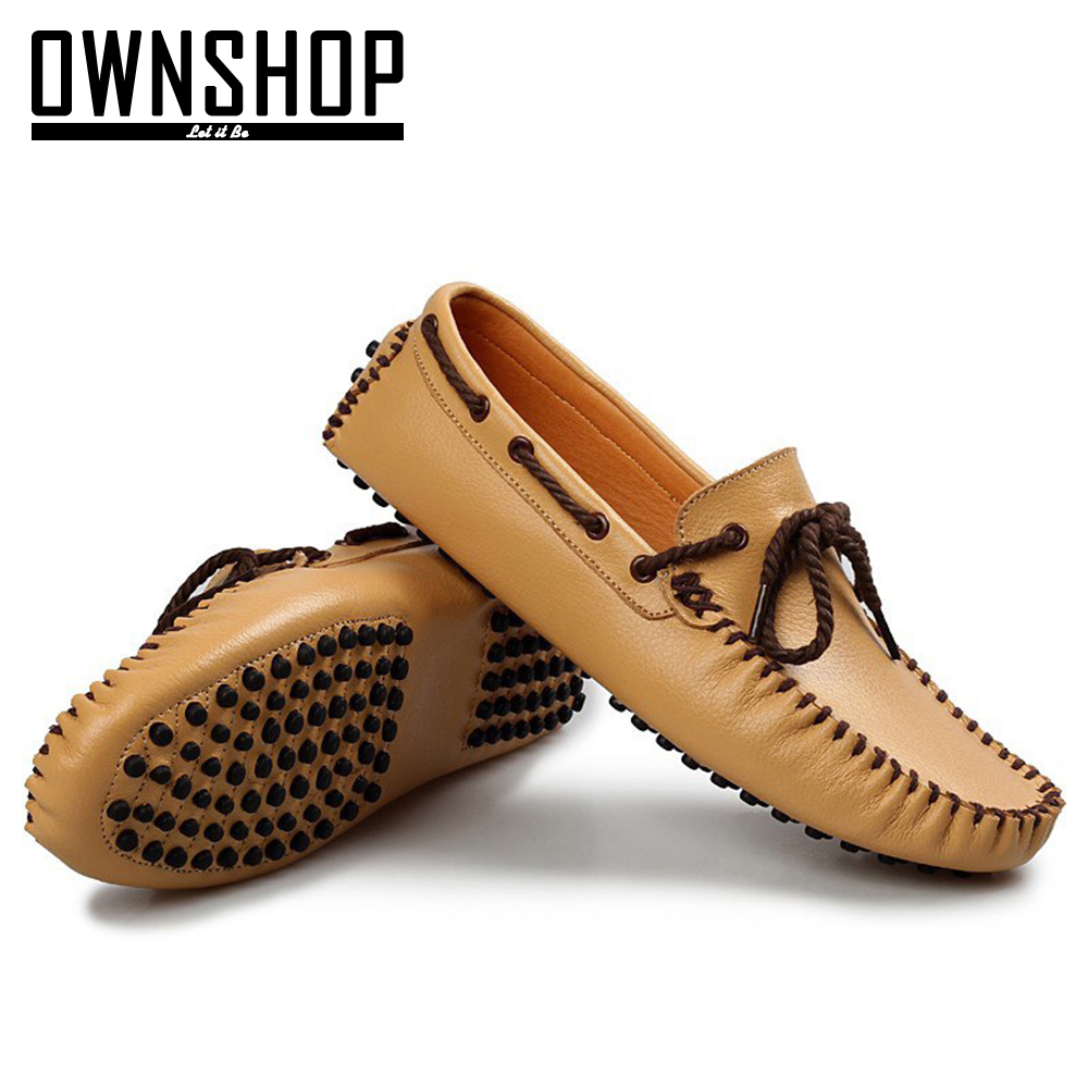 OWNSHOP White Men Loafers For Men Casual Mens Leather Loafers Shoes Men Slip On Loafers Men`s ...