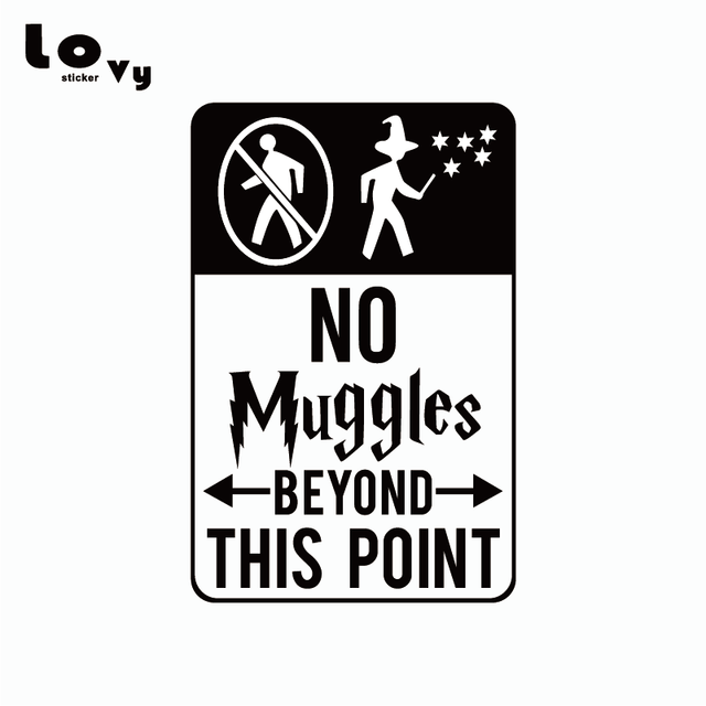Harry Potter Wall Sticker No Muggles Beyond This Point Vinyl Wall Decal Home Decor