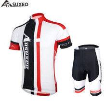 цена на ARSUXEO Men Cycling Bike Bicycle Short Sleeves Jersey + 3D Coolmax Padded Shorts Suit Mountain MTB Road Bike Clothing Set