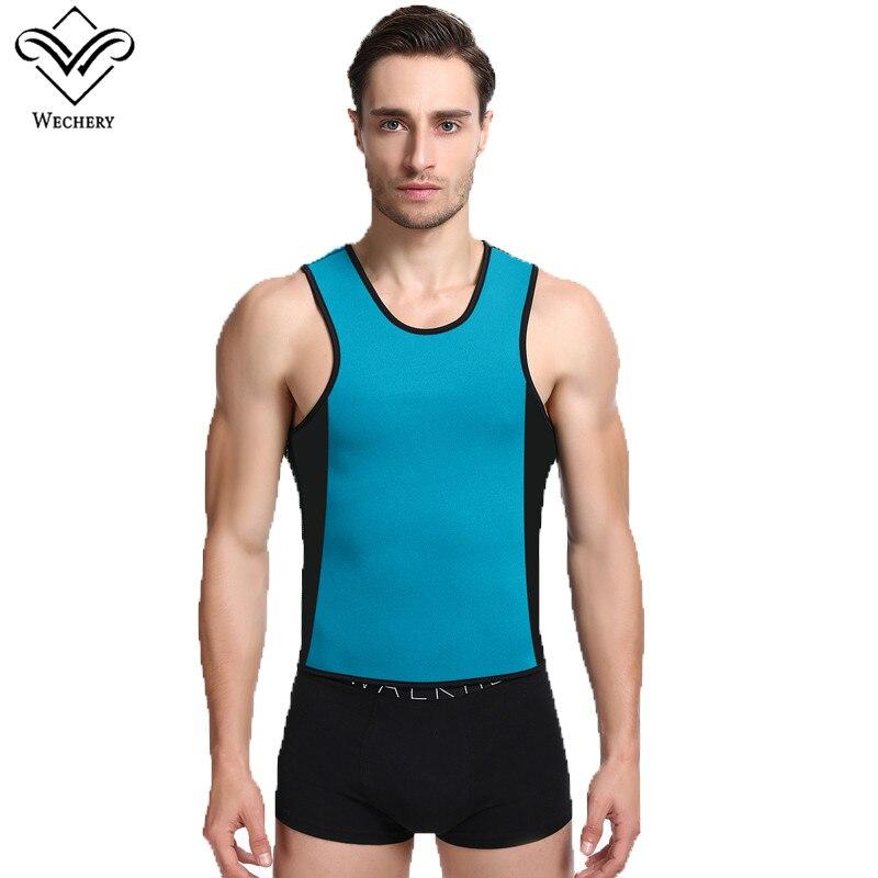 Wechery неопрена для похудения пот жилет Body Shaper для мужчин плюс Размеры Shaperwear с молнией способствовать Swaet Похудение сауна Топы