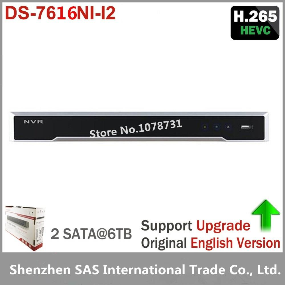 Hikvision DS-7616NI-I2 Original English version 16ch NVR with 2SATA , HDMI VGA plug & play NVR POE 16ch VCA H.265 16ch 8poe nvr 7616ni se p original english version