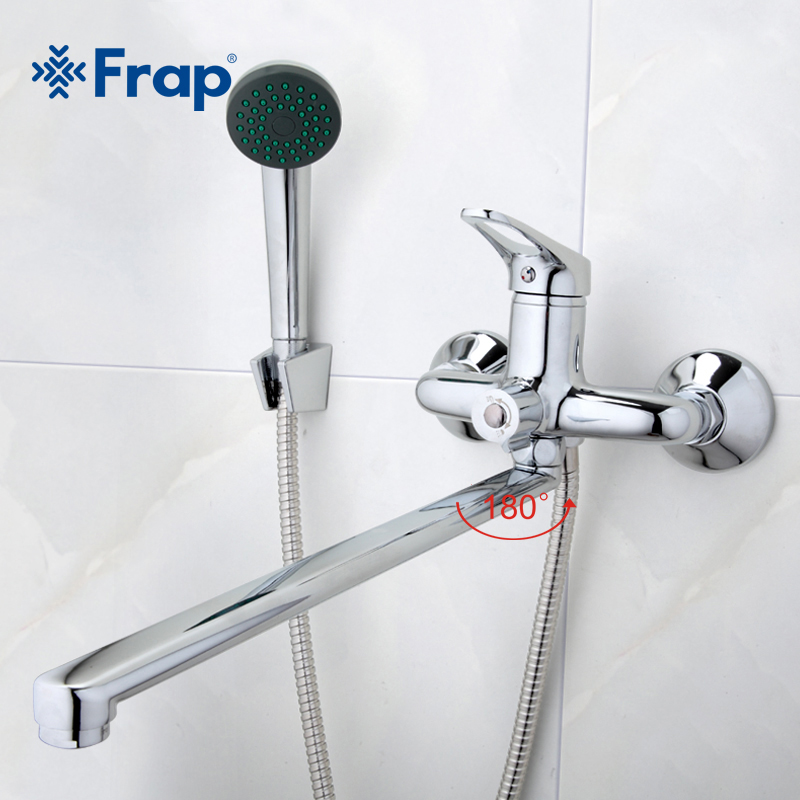 Frap New Bathroom Combination Bathroom Mixer 40cm Stainless Steel Long Nose with Mini Stylish Basin Faucet Brass F2213+F1013-in Shower Faucets from Home Improvement    2