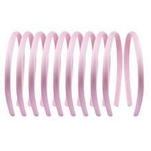 10pcs Satin Covered Headbands 1cm Girls Women DIY Fabric Ribbon Hairband Colorful Hair Accessories Tiara