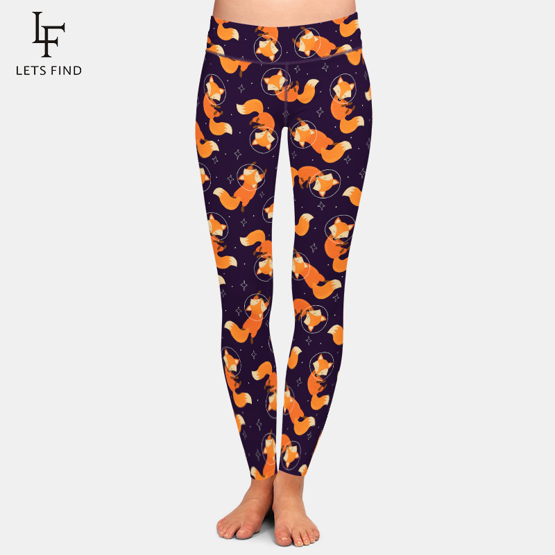 Fashion Cartoon Fox Print Girls   Leggings   High Waist High Elastic 220gsm Double Side Brushed Milk Silk Plus Size Women   Leggings