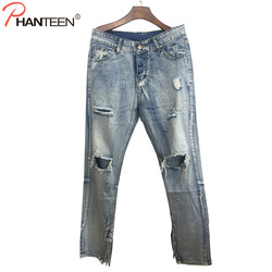 Kanye west justin bieber brand men jeans vintage washed ripped hole street style casual jeans side.jpg 250x250