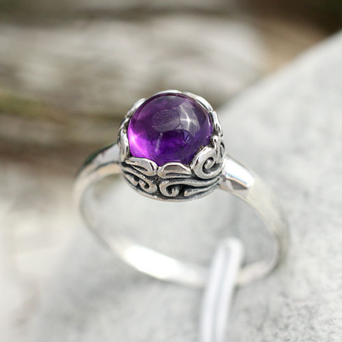India Bali Retro Jewelry Handmade 925 Sterling Silver Carved Ring Setting Natural Amethyst Crystal Gifts Women