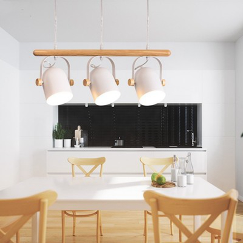 LukLoy Hanging Lamp Set of 3 LED Pendant Lamps Study Wooden Kitchen Island Pendant Light Drop Lighting Dining Table Living Room