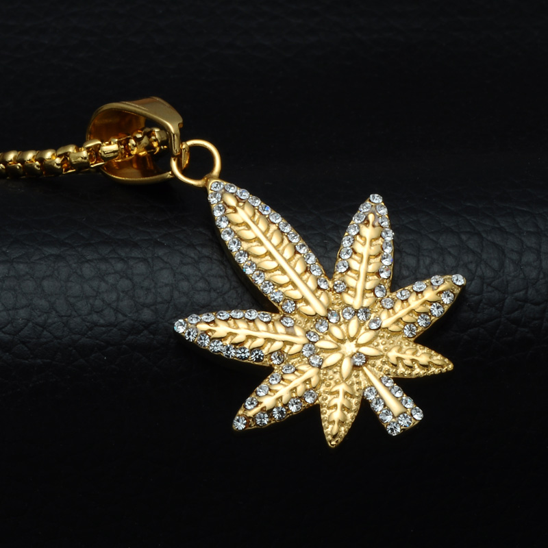 HIP Hop Bling Ice Out Crystal Pave <font><b>Plant</b></font> Maple Leaf Necklaces & Pendants Titanium <font><b>Cannabiss</b></font> Necklace for Men Jewelry image