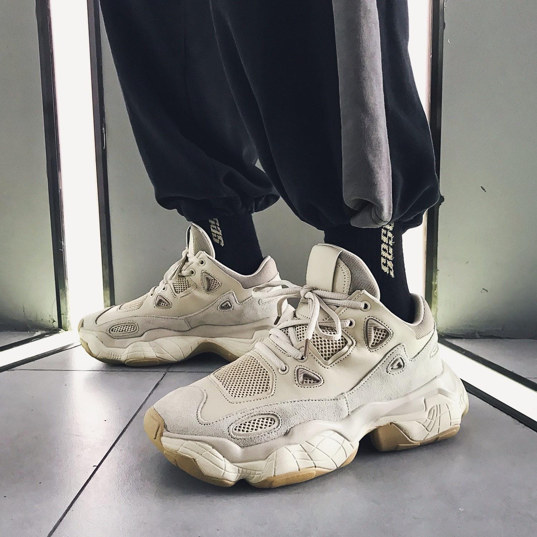 2019 printemps véritable plate-forme en cuir hommes baskets respirant maille chaussures de course pour hommes chaussures de Sport en plein air Jogging chaussures 39-45