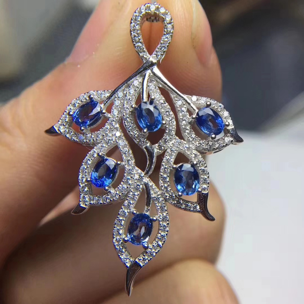 natural blue sapphire pendant S925 silver Natural gemstone Pendant Necklace trendy Elegant Clover Leaves women party jewelrynatural blue sapphire pendant S925 silver Natural gemstone Pendant Necklace trendy Elegant Clover Leaves women party jewelry