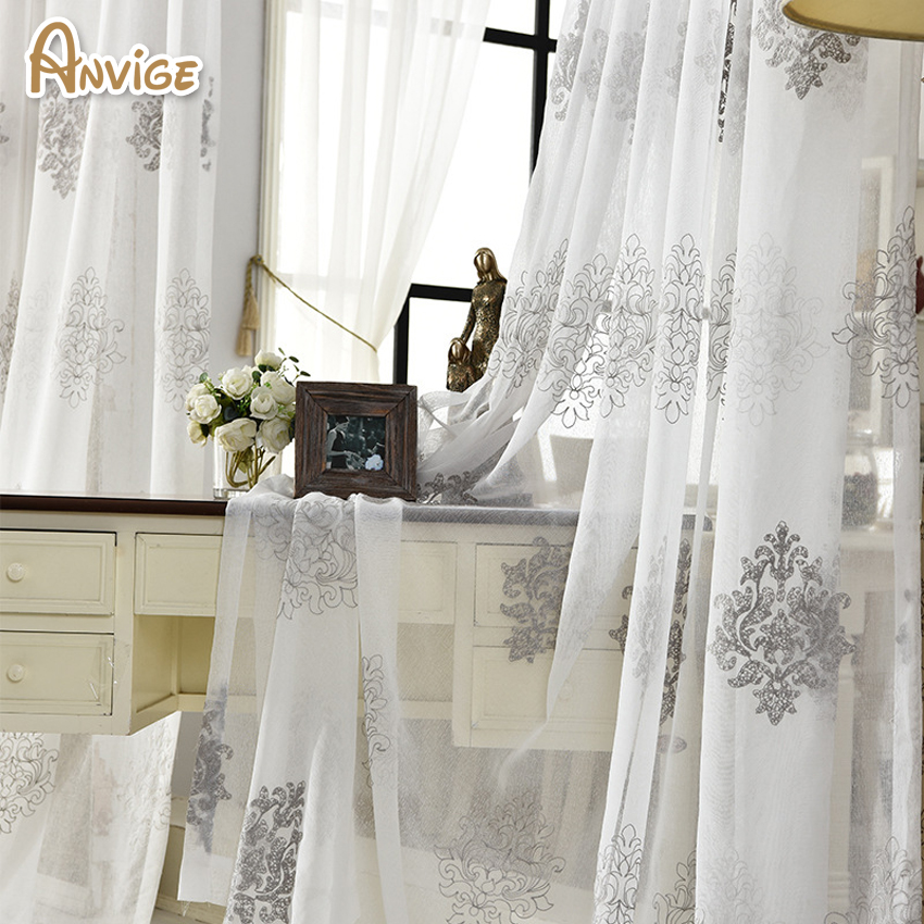 Us 12 15 10 Off Anvige European Luxury Embroidery Jacquard Fancy Design Sheer Curtain Tulle Curtains For Living Room In From Home Garden