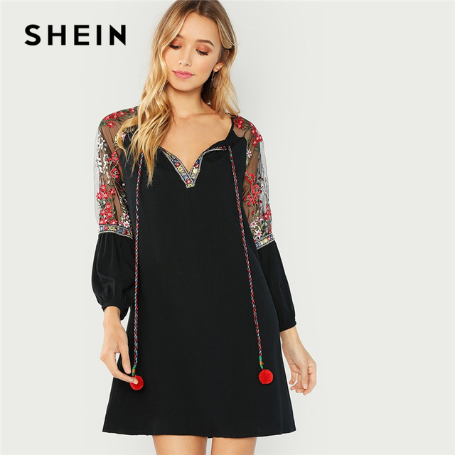 1c928a1dccb7 SHEIN Black Elegant Vacation Bohemian Beach Pompom Tie Neck Embroidered  Mesh Raglan Sleeve Dress Autumn Women Holiday Dresses