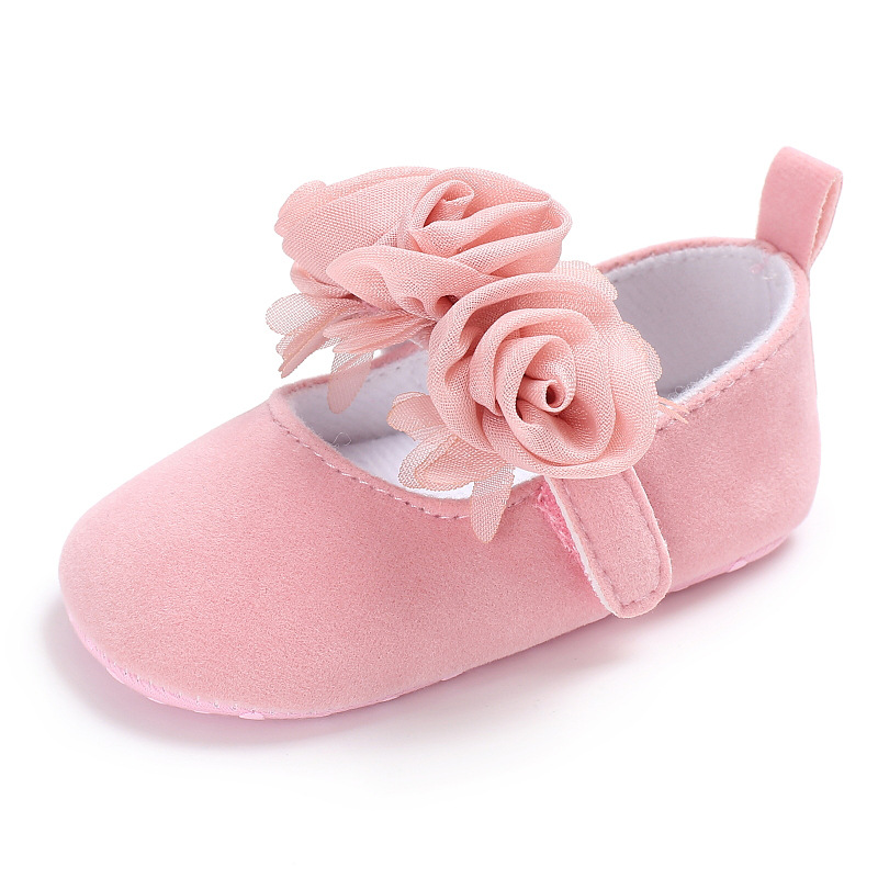 New Cute Infant Girls Flower Dress Shoes Pink Black Beige Color Baby Girls Party Shoes First Walkers