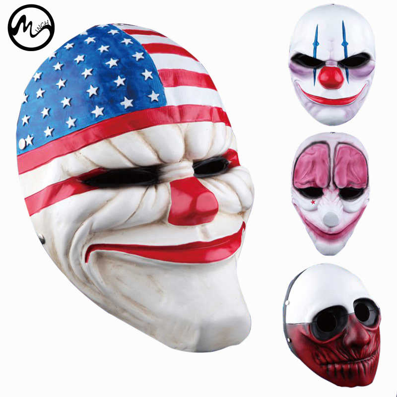 Minch Halloween Maschere Da Clown per il Partito di Travestimento Spaventoso Clown Maschera Payday 2 di Halloween Horrible Maschera