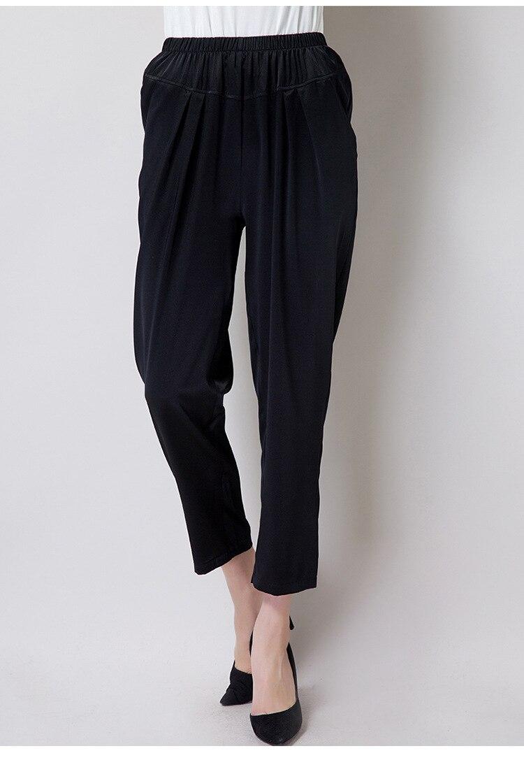 Vita Elastica Nero Di 9 Pantaloni Gelso Sottile 1609 Il Donne Vestito Diritto Nuovo Puro Seta Delle A 8qp1azw