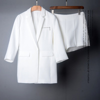 Europe 2017 Autumn New Fashion Women Brand White Blazer And Short Pants Suit High Quality Elegant