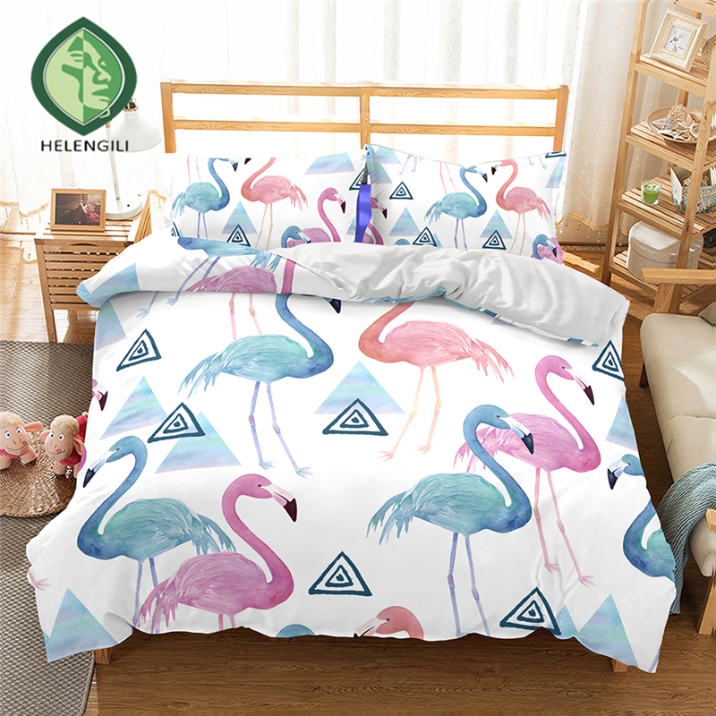 HELENGILI 3D Bedding set Flamingo Print Duvet cover set lifelike bedclothes with pillowcase bed set home Textiles #2-06HELENGILI 3D Bedding set Flamingo Print Duvet cover set lifelike bedclothes with pillowcase bed set home Textiles #2-06