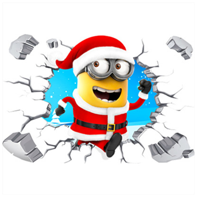 merry christmas funny 3d minions broken wall to enter kids rooms vinyl stickers for home decorations - Christmas Minions