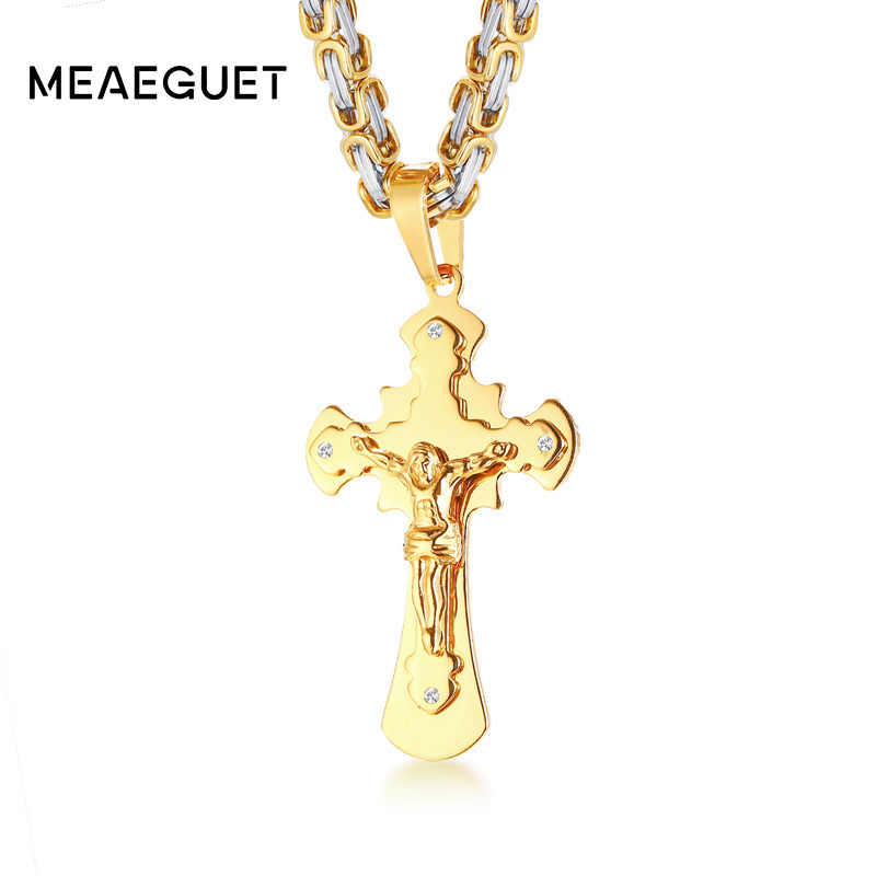 Men's Stainless Steel Necklace Jesus Christ Cross Crucifix Pendant In Gold Color Big Heavy Byzantine Chain Punk Jewelry 20""