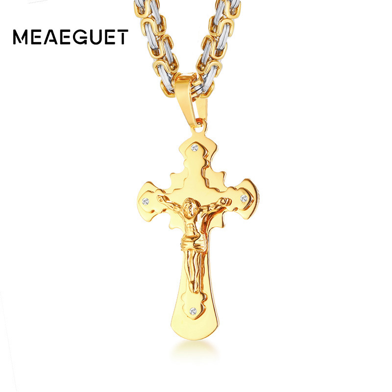 Men's Stainless Steel Necklace Jesus Christ Cross Crucifix Pendant In Gold Color Big Heavy Byzantine Chain Punk Jewelry 20 crucifix chain layered pendant necklace