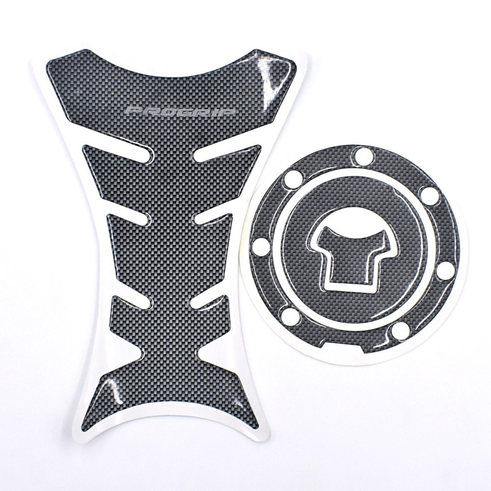 Universal Motorcycle Fuel Tank Pad Carbon Fiber Look Protector Cover decal #2