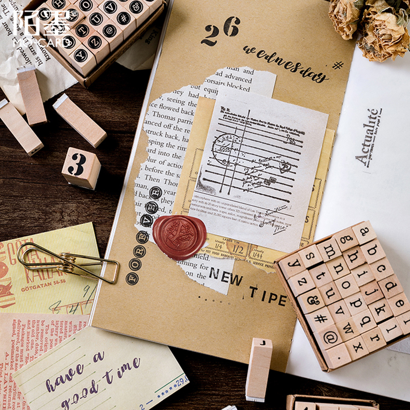 Image 5 - Vintage basic Alphabet Number character stamp DIY wooden rubber stamps for scrapbooking stationery scrapbooking standard stamp-in Stamps from Home & Garden