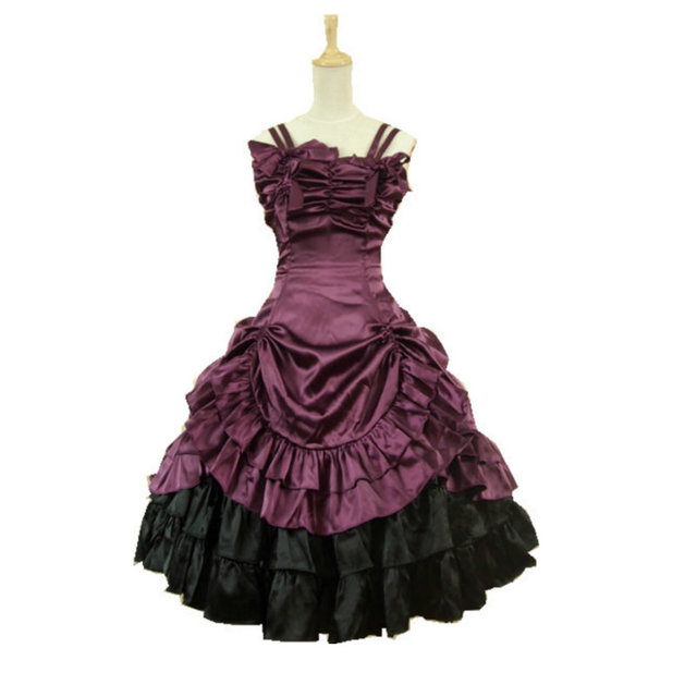 Satin Classic Sweet Lolita Dress victorian dress cosplay Cocktail dress  Size US 6-26 XS-6XL V-904 b644d4593402