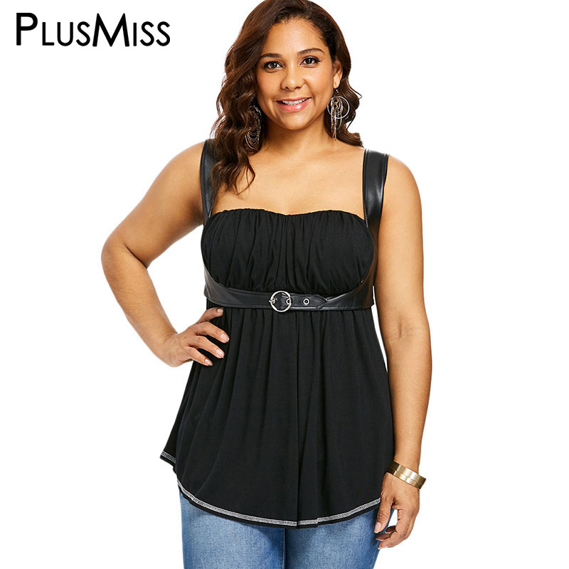 04f15b4c6e5aa Detail Feedback Questions about PlusMiss Plus Size Vintage Black Sexy  Leather Tank Ladies Tunic Tops Women Punk Rock Big Size Loose Sleeveless  Vests Top ...