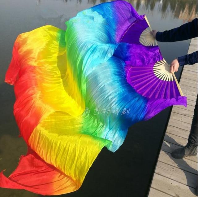 Professionelle 100% Echt Seide Bauchtanz Fan Schleier Falten Lange Fan Regenbogen Farbe Mädchen Erwachsene Größe 1.2/1.5/1.8/2,1 m Kostenloser Versand