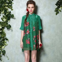 Fashion Party Blusas Elegant Women Flower Embroidery Vintage Retro Dresses Organza Ladies Maxi Loose Dress Plus Size NS57