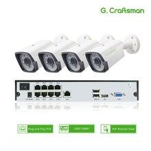 4ch 1080P POEชุดH.265ระบบกล้องวงจรปิด8ch NVR 2.0MPกันน้ำกลางแจ้งIPกล้องการเฝ้าระวังวิดีโอปลุกP2P G.Craftsman