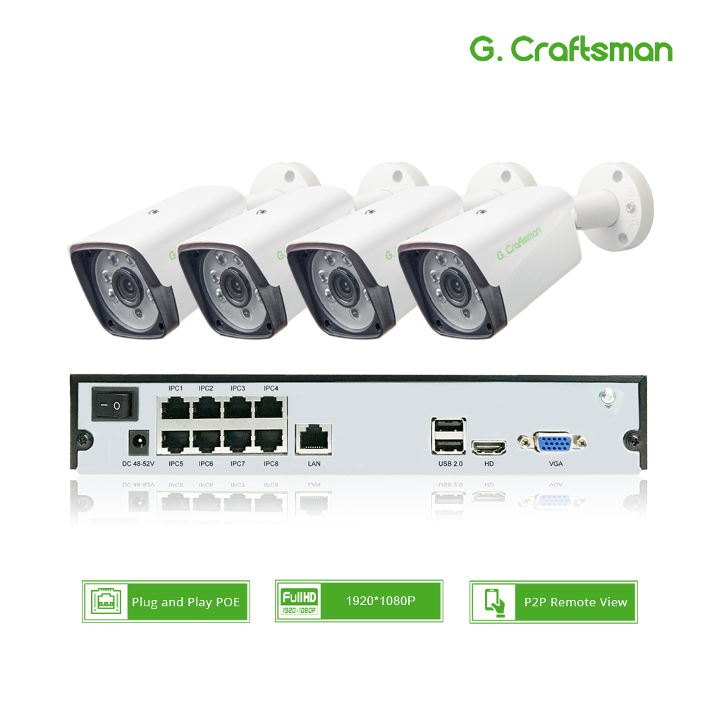 4ch 1080P POE Kit H.265 System CCTV Security 8ch NVR 2.0MP Outdoor Waterproof IP Camera Surveillance Alarm Video P2P G.Craftsman4ch 1080P POE Kit H.265 System CCTV Security 8ch NVR 2.0MP Outdoor Waterproof IP Camera Surveillance Alarm Video P2P G.Craftsman