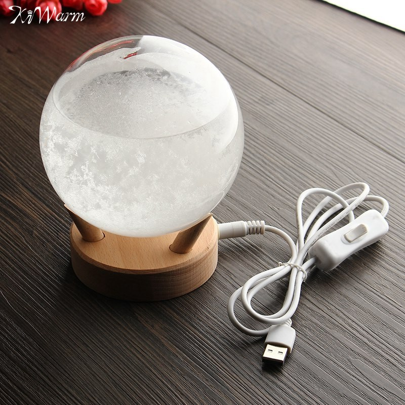 Kiwarm Weather Forecast Crystal Rainstorm Glass Colorful Luminous Wishing Ball For Home Decor Table Ornament Craft Gifts