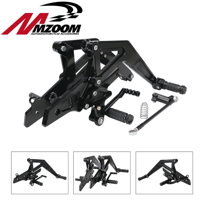 CNC Aluminum Motorcycle Adjustable Rearset Rear Set Foot Pegs Pedal Footrest For Kawasaki Ninja 650(EX650)ER-6N/ER-6F 2012-2016 for kawasaki er 6n 2009 2015 ninja 650 er 6f er 6f 2009 2015 balance shock front fork brace gold